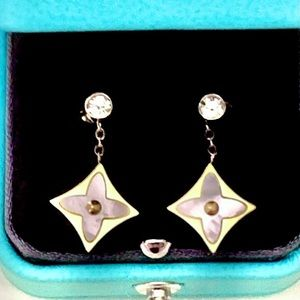 Diamond Mother of Pearl Blossom Earrings
